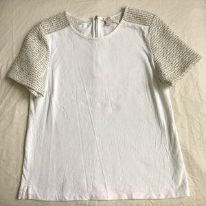 J. Crew Tweed-Sleeve T-Shirt